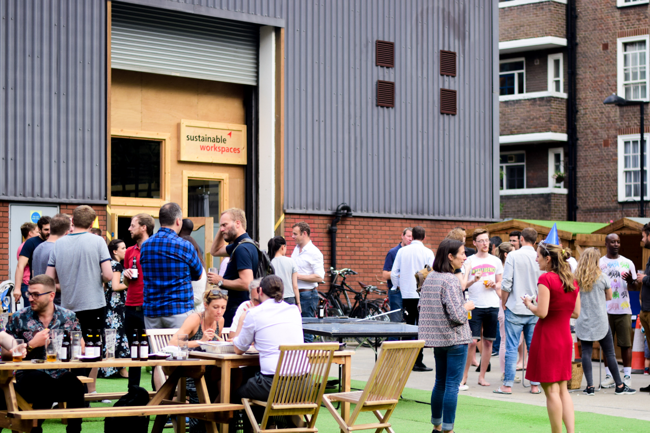 Office lunch hall during the day, a beer garden at night!