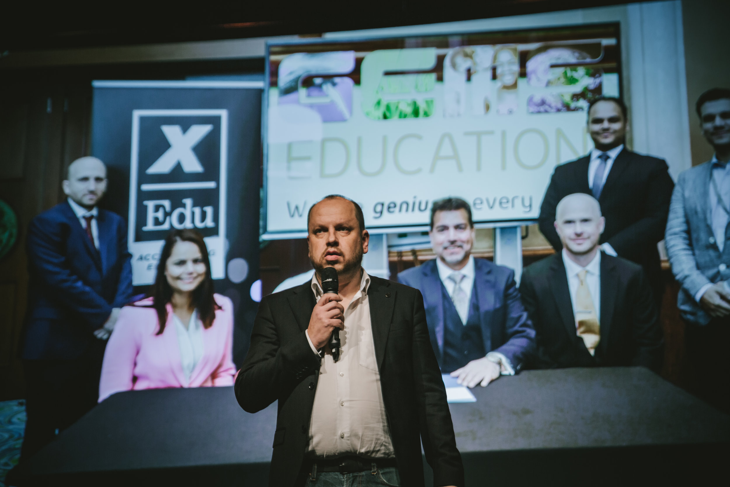 Antti Korhonen, CEO at xEdu, announcing the MoU with GemsXonline at XcitED 2018