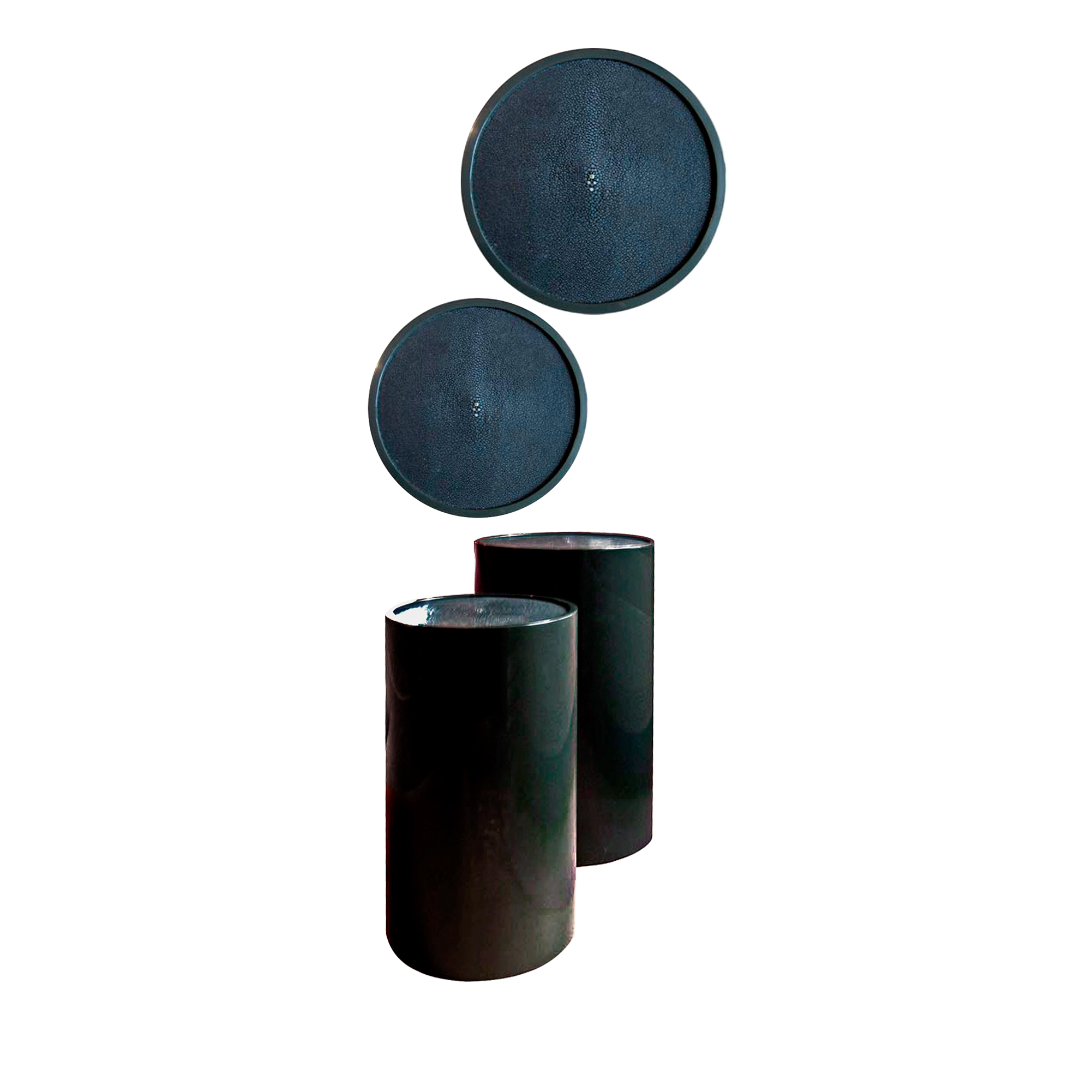 Shagreen Lacquer Drum Tables    more info