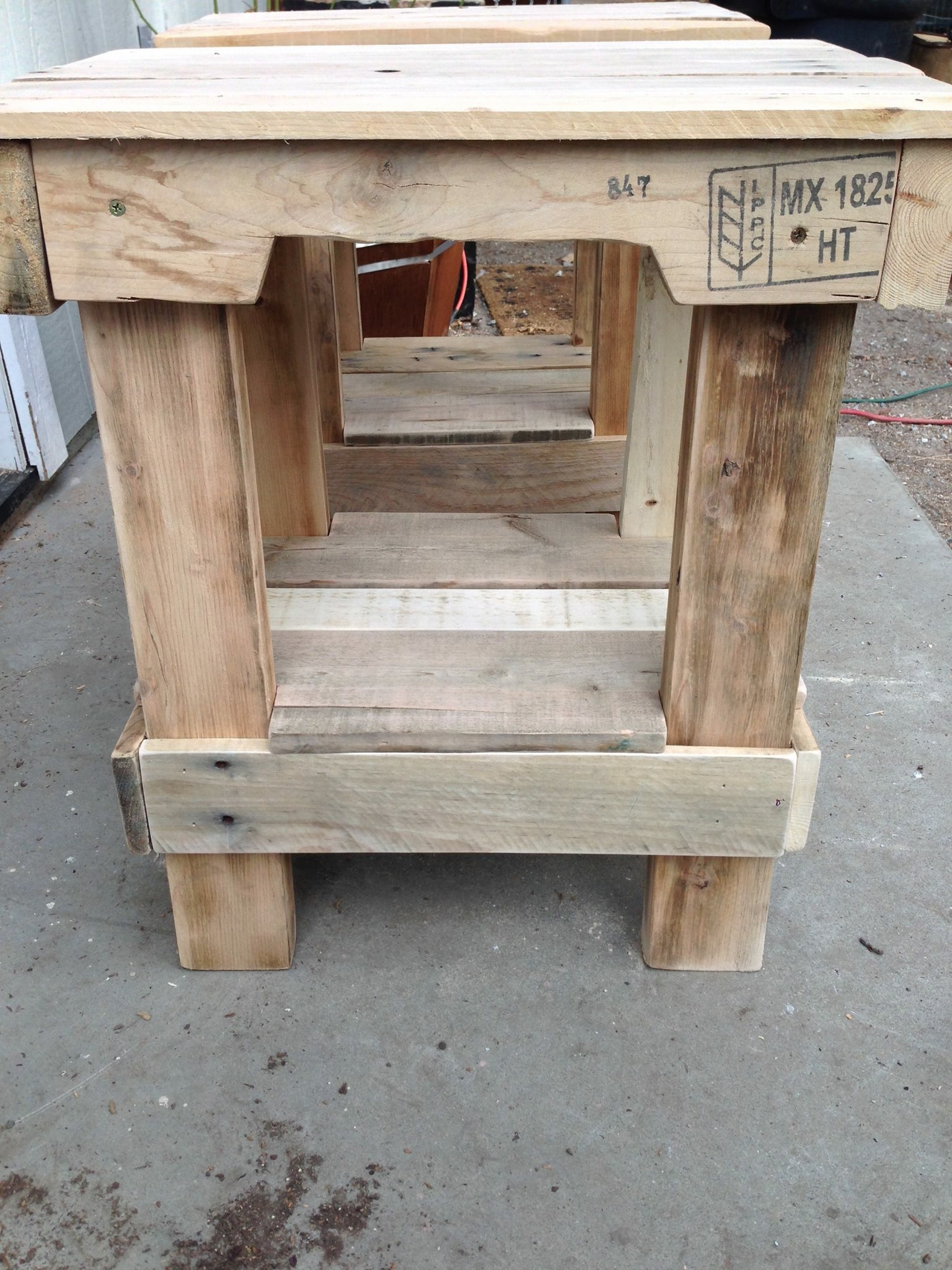 First end tables - Somehow these little pallet tables are still standing, barely, but they are still in use.