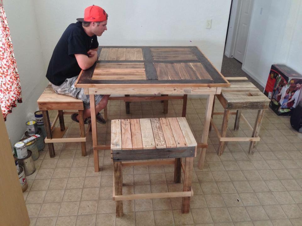 """first dining set - This high top dining set gave me new meaning to the phrase """"trial and error."""" As I had to rebuild it many times until I scratched the terrible design and started fresh."""