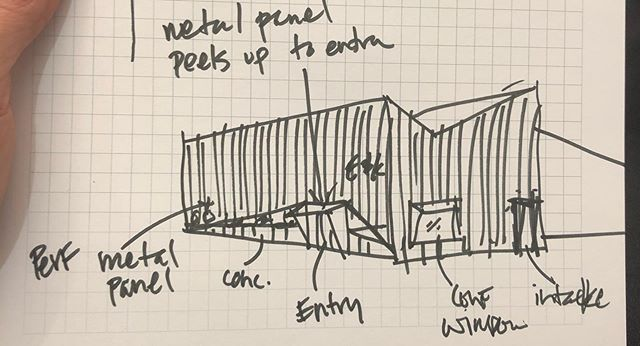Concept sketch to render. The rich history of Colorado's mining structures are reinterpreted into a modern office building. . . . . . . . . #architecture #design #colorado #architecturelovers #architect #studio #netzerobuilding #mining #designinspiration #designer #moderndesign