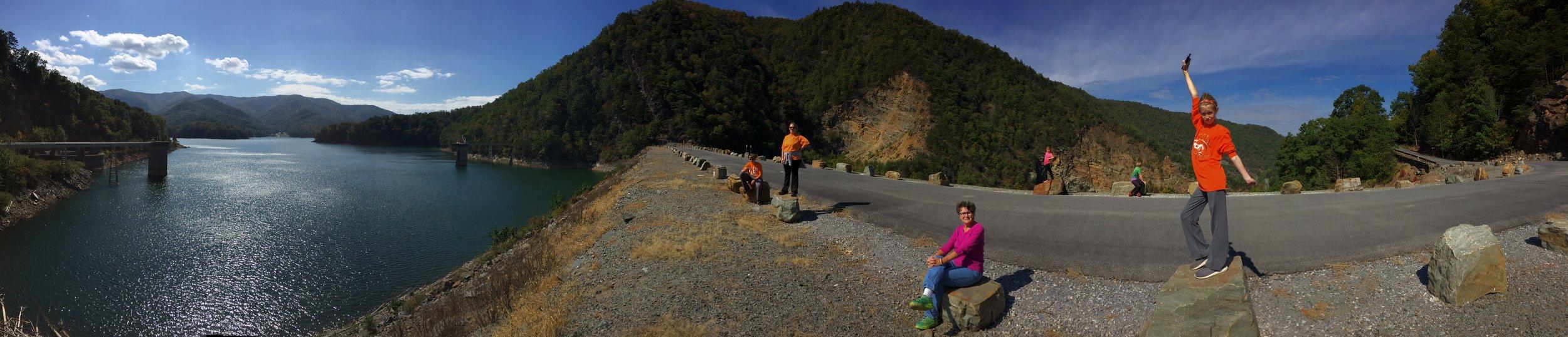 Appalachian Trail on top of the Watauga Dam