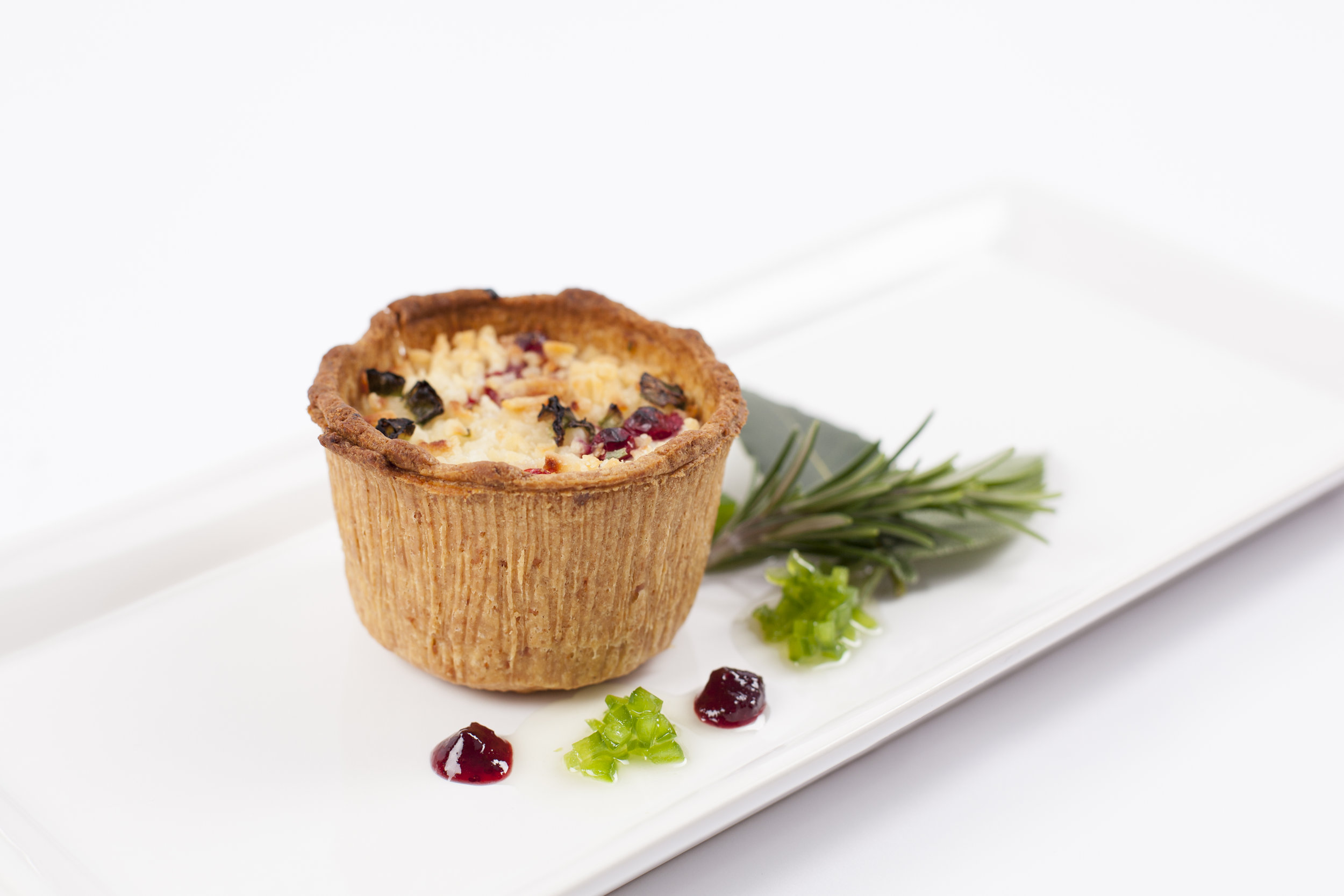 """Deep filled Goats Cheese & Cranberry tart on  2"""" Short Cheese Pastry   Product code - FF5220t"""