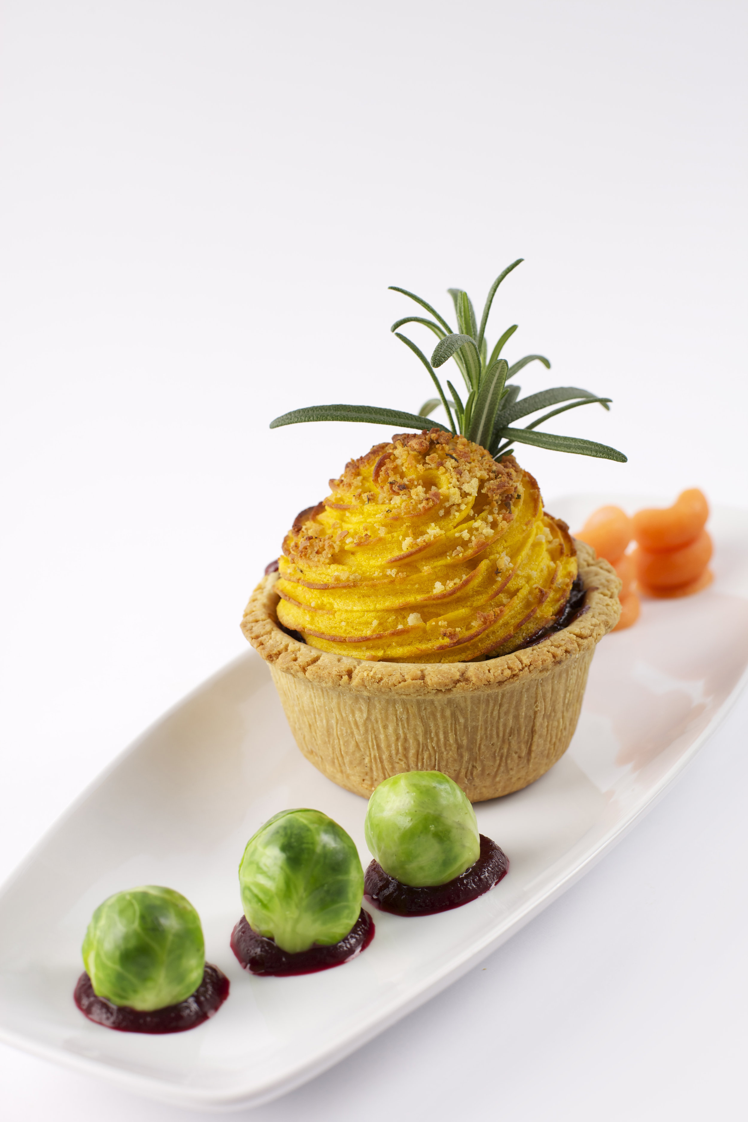 """Beetroot & Butternut Squash Cup Cake Pie on  3"""" Short Cheese Pastry   Product code -FF5030t"""