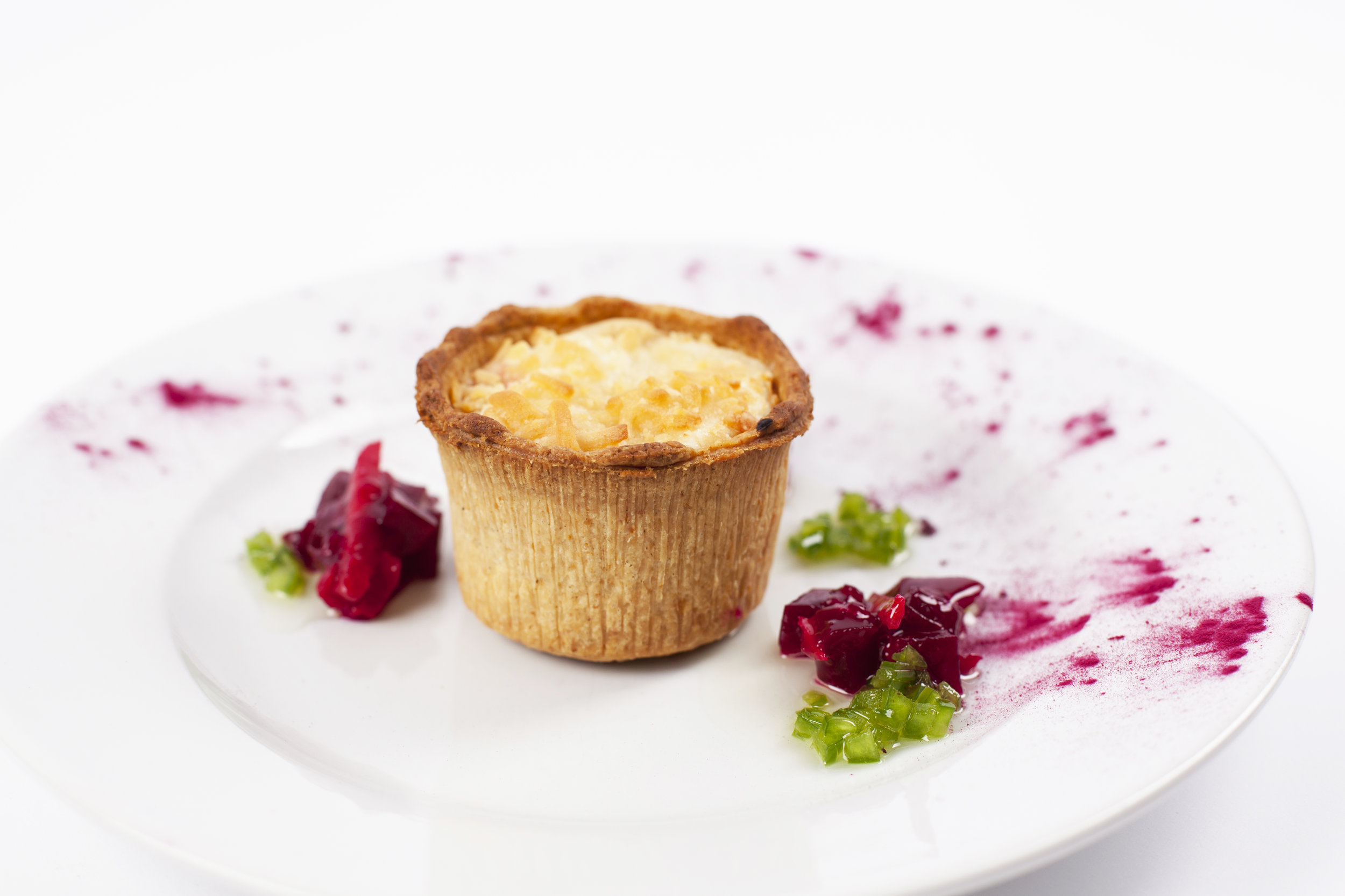 """Deep Filled Beetroot & Goats Cheese Tart on  2"""" Short Cheese Pastry   Product code - FF5220t"""