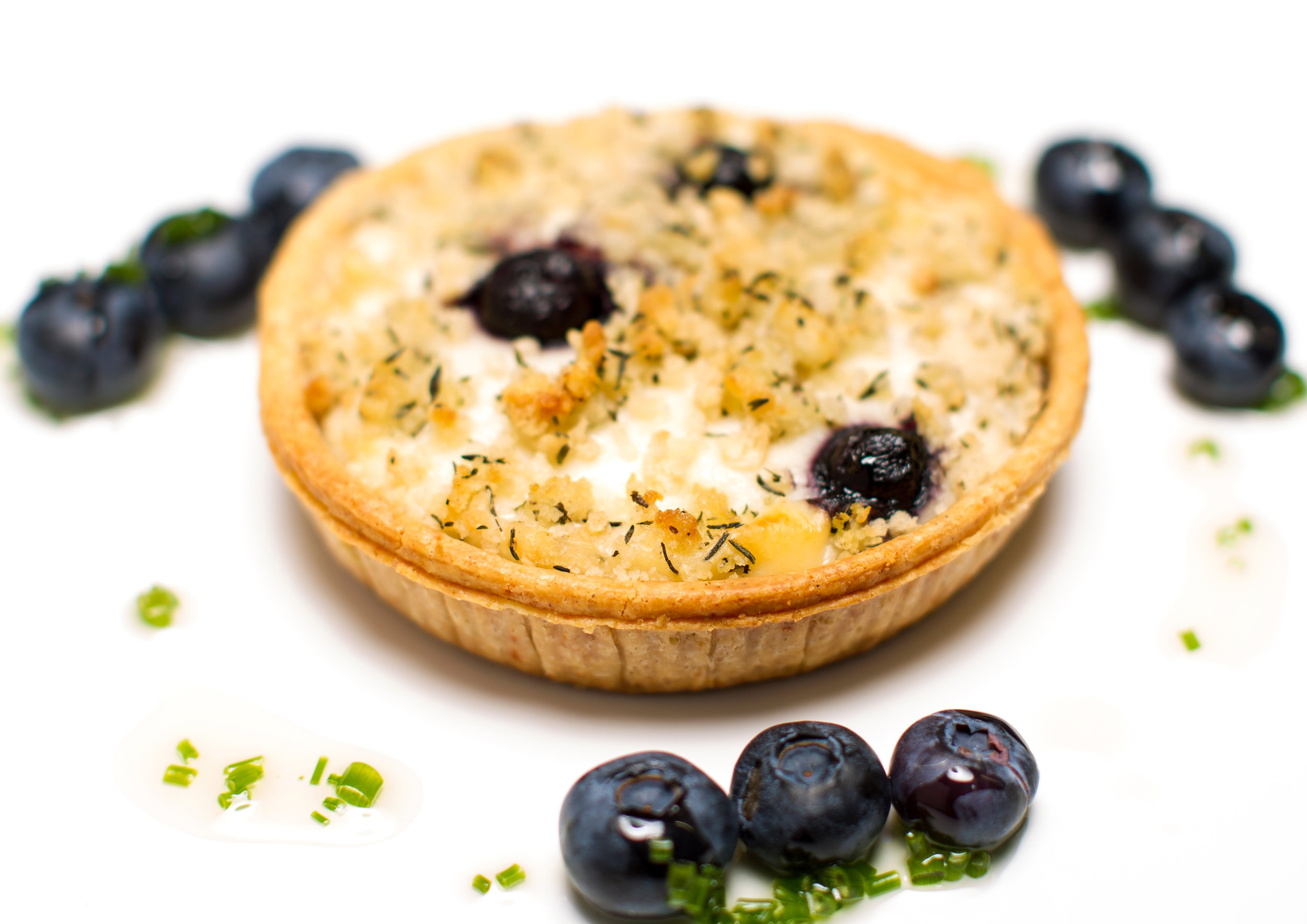 """Goats Cheese and Blueberry Chutney Tart on  4"""" Short Cheese Pastry   Product code -FF5240Shlw"""