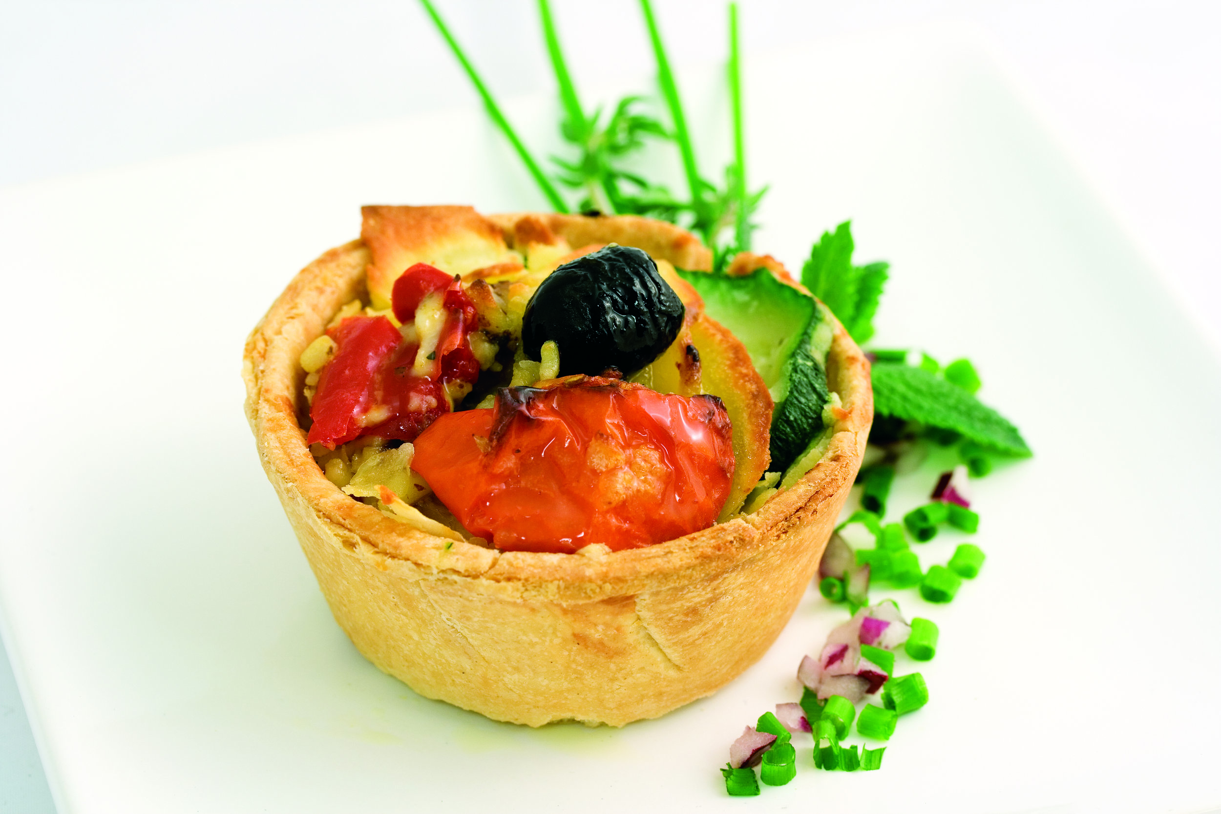"Goats Cheese & SunBlush® TomatoTart on  3"" Cheese Straw Basket   Product code -FF2030"