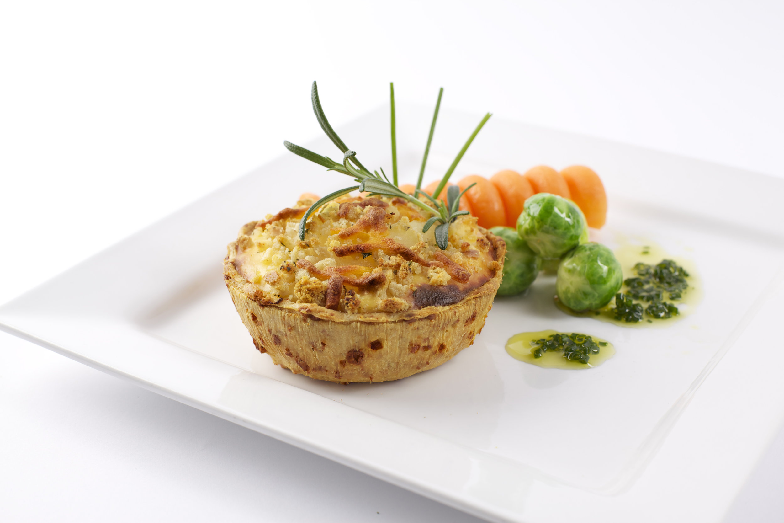 """Three Cheese Tart with Pear & Rosemary on  4"""" Short Cheese Pastry   Product code -FF5240deep"""