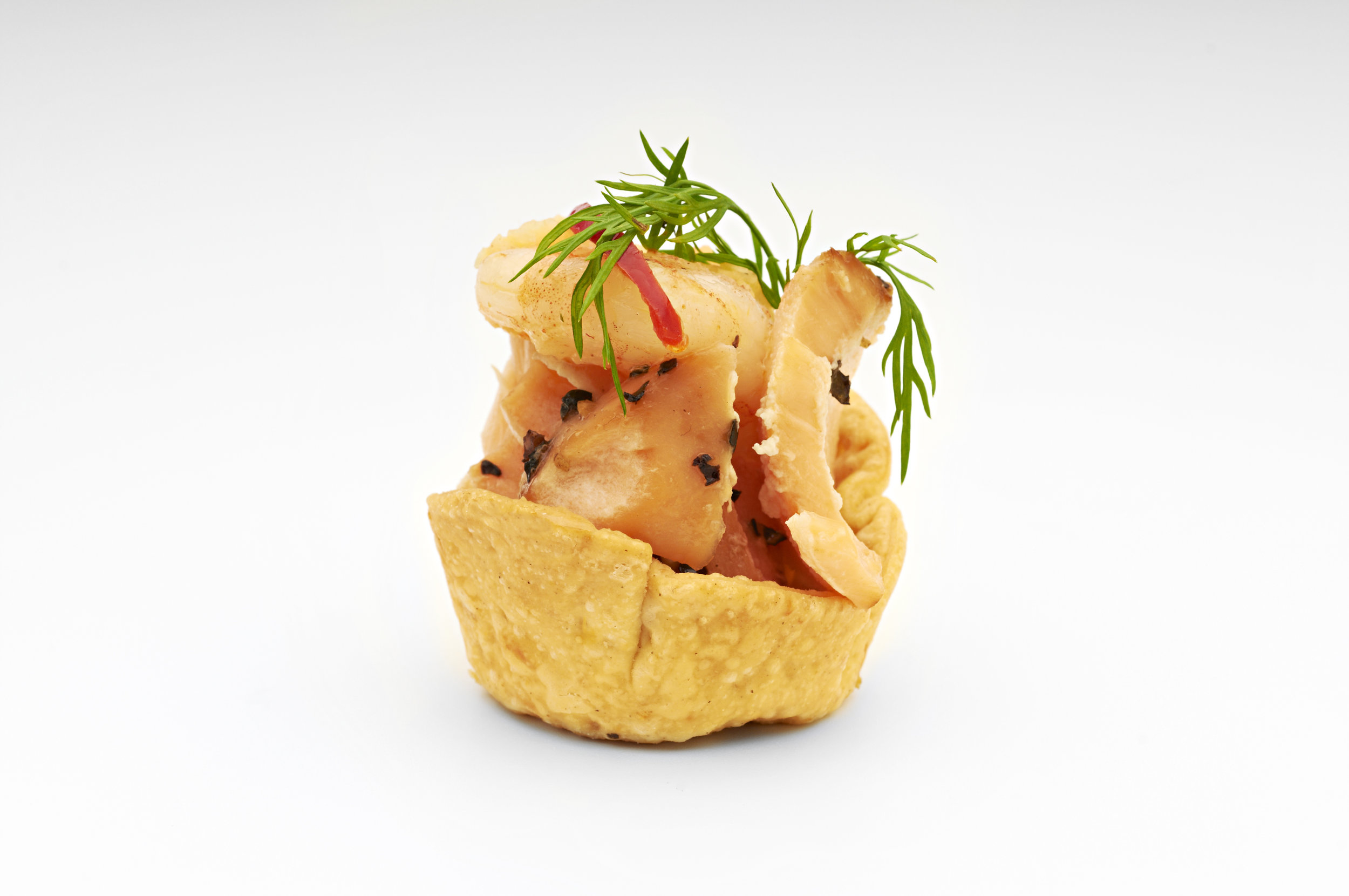 "1"" Cheese Straw Basket Dlx  Flaked Scottish salmon and brown lump fish caviar in a 1"" Cheese Straw Dlx Case  Product code - FF2011"