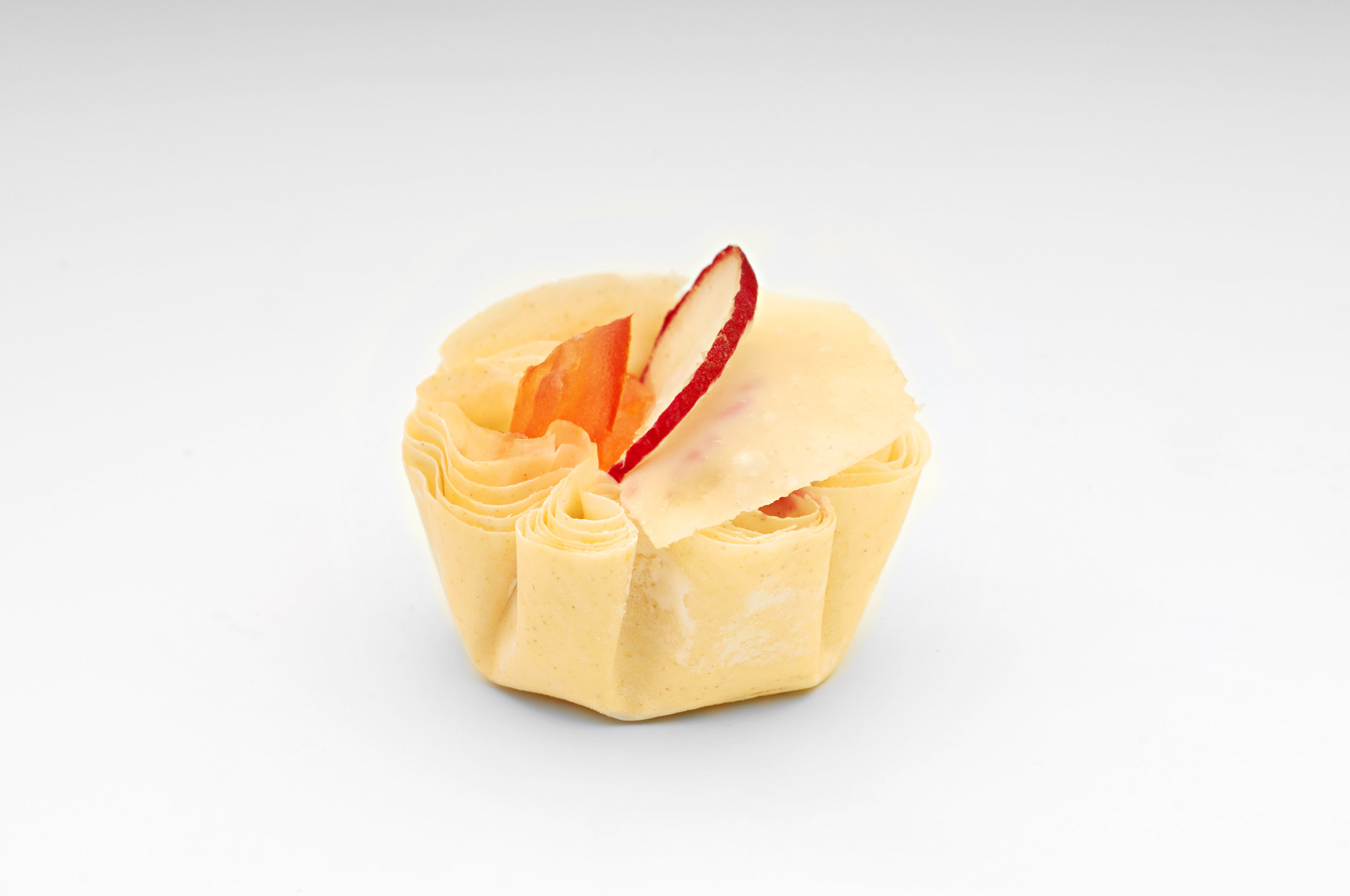 "Tomato concassee with crème fresh and radish in  1"" filo tart.   Product code - FF3010"