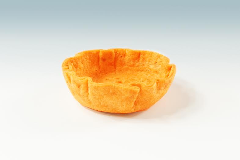 """1 """" Tomato Tortilla Shell  Product code - FF4110 Dimensions - 3.5 x 0.75 180 units per box"""