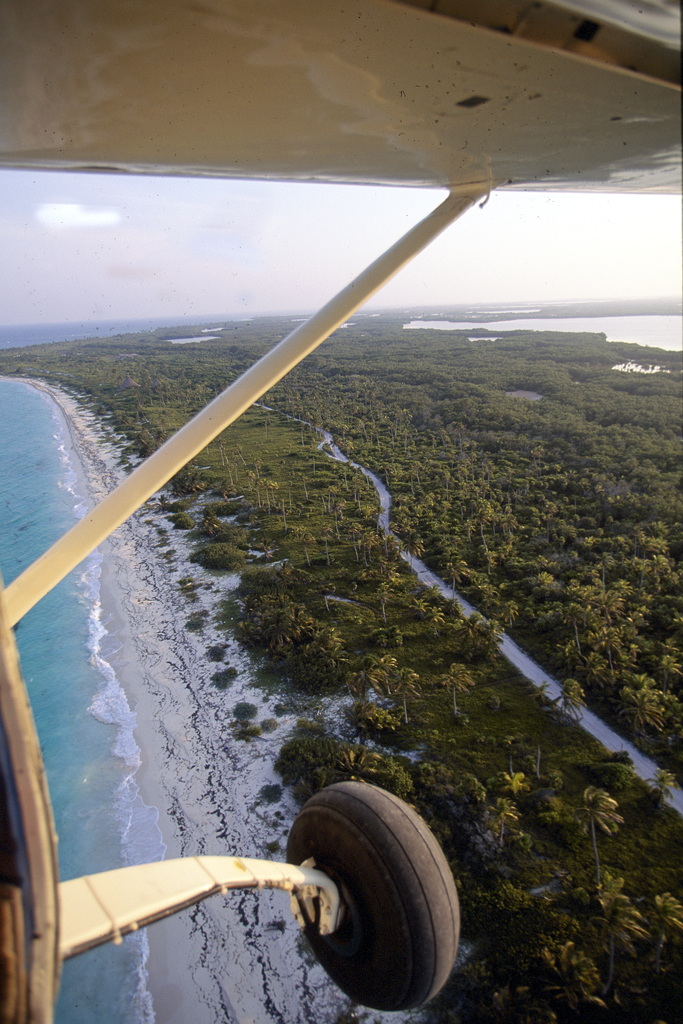Flying down to Playa Blanca, Quintana Roo, Mexico