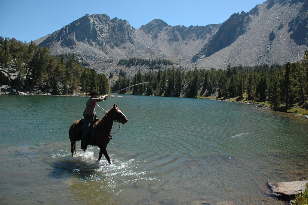 Fishing from horseback in the high country of Montana
