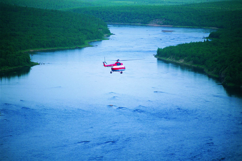 Flying into Ryabaga Camp on the Ponoi River, Russia