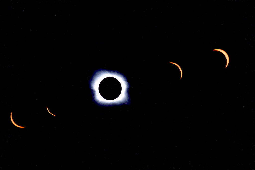 Multiple exposure time-lapse of total solar eclipse in northern Montana