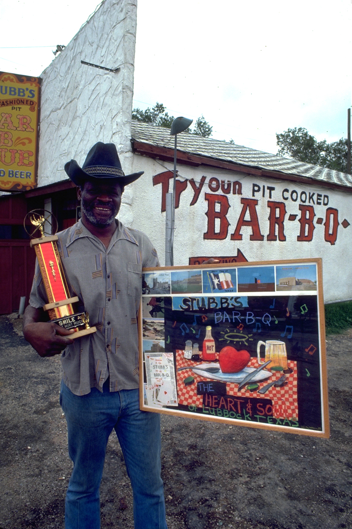 The man himself, C.B. Stubblefield in front of the legendary Stubb's Bar-B-Q in Lubbock, Texas