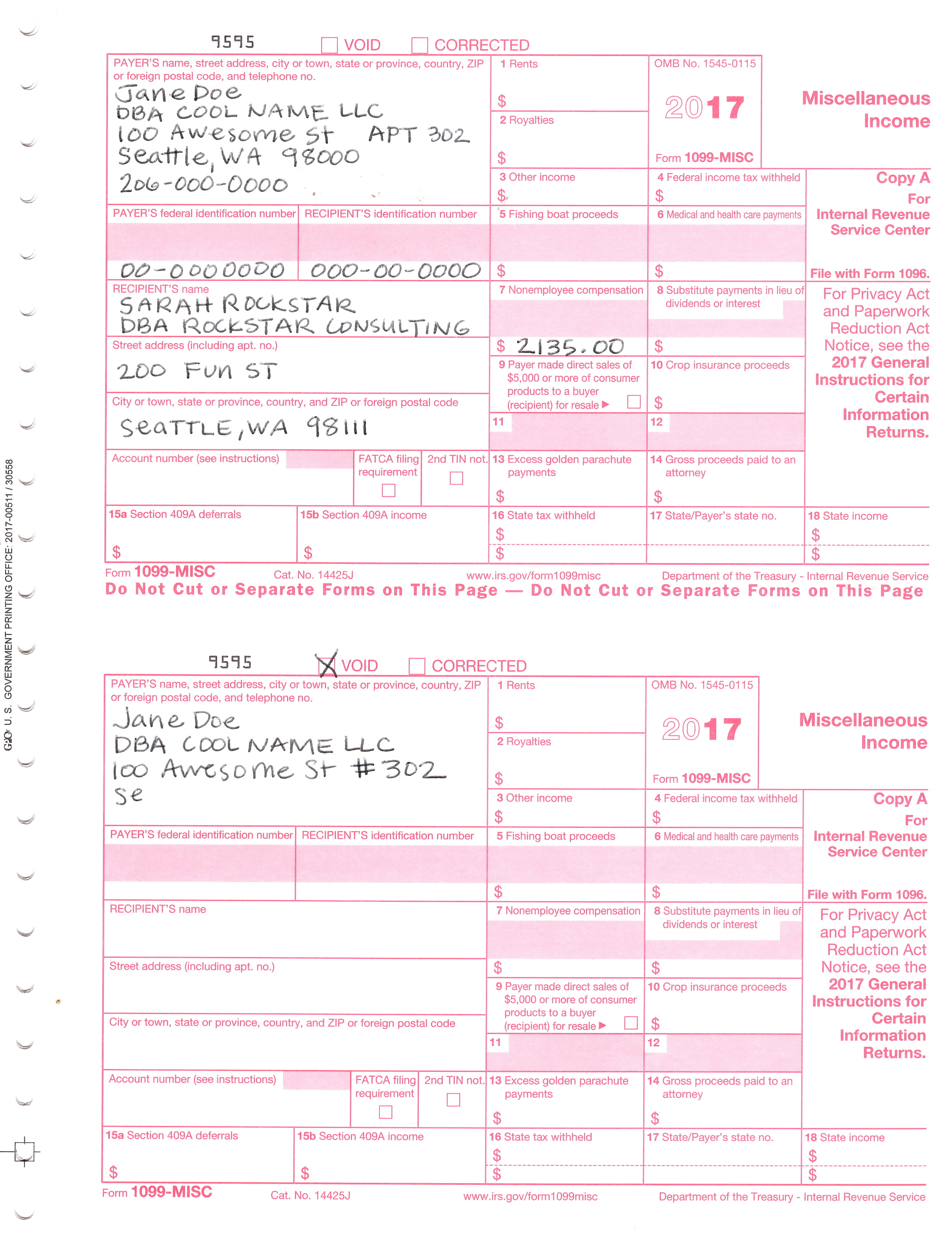gFBA1099FilledOut  Form Copy A Handwritten Example on