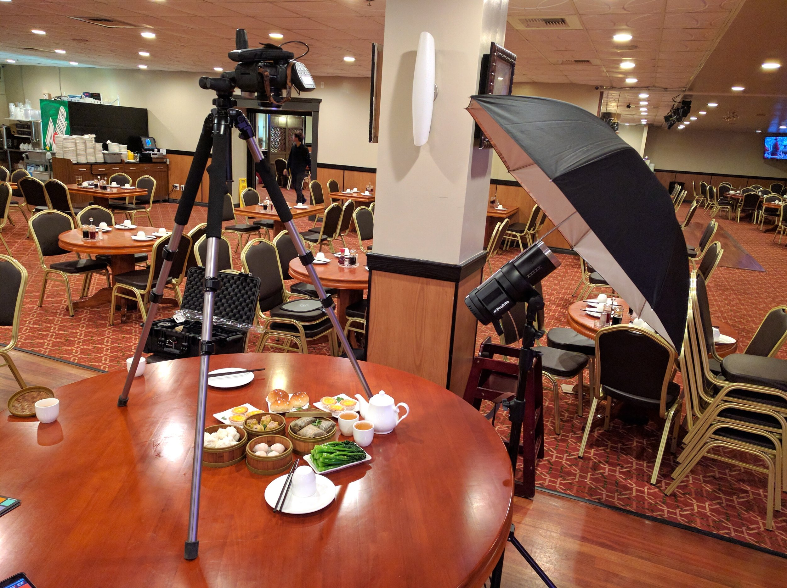 Who says you can't put a tripod on a table? Here's a look at our setup for the dim sum shoot.