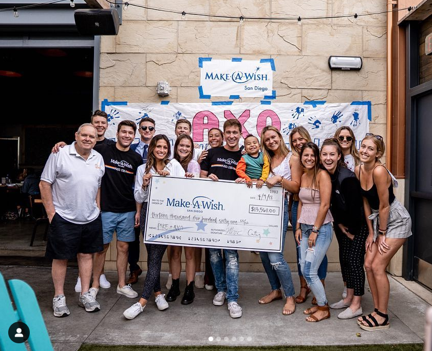 """Our first ever Make-A-Wish philanthropy was a huge success!AXOand Pike came together to send Noah to Disney World to meet his idol, Mickey Mouse. We ended up raising $13,561!  """"If you can dream it you can do it""""- Walt Disney"""