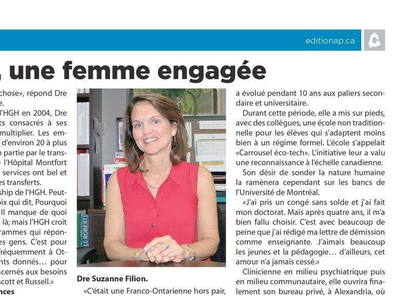 FR - Article de journal: Le Carillon -  Dr Suzanne Filion, une femme engagée  | 2013 11 20