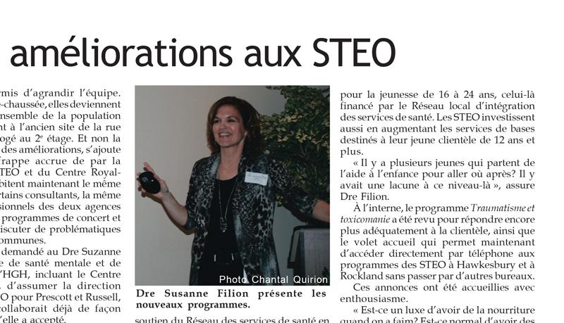 FR - Article de journal: Tribune-Express -  Plusieurs améliorations au STEO  | 2011 12 02