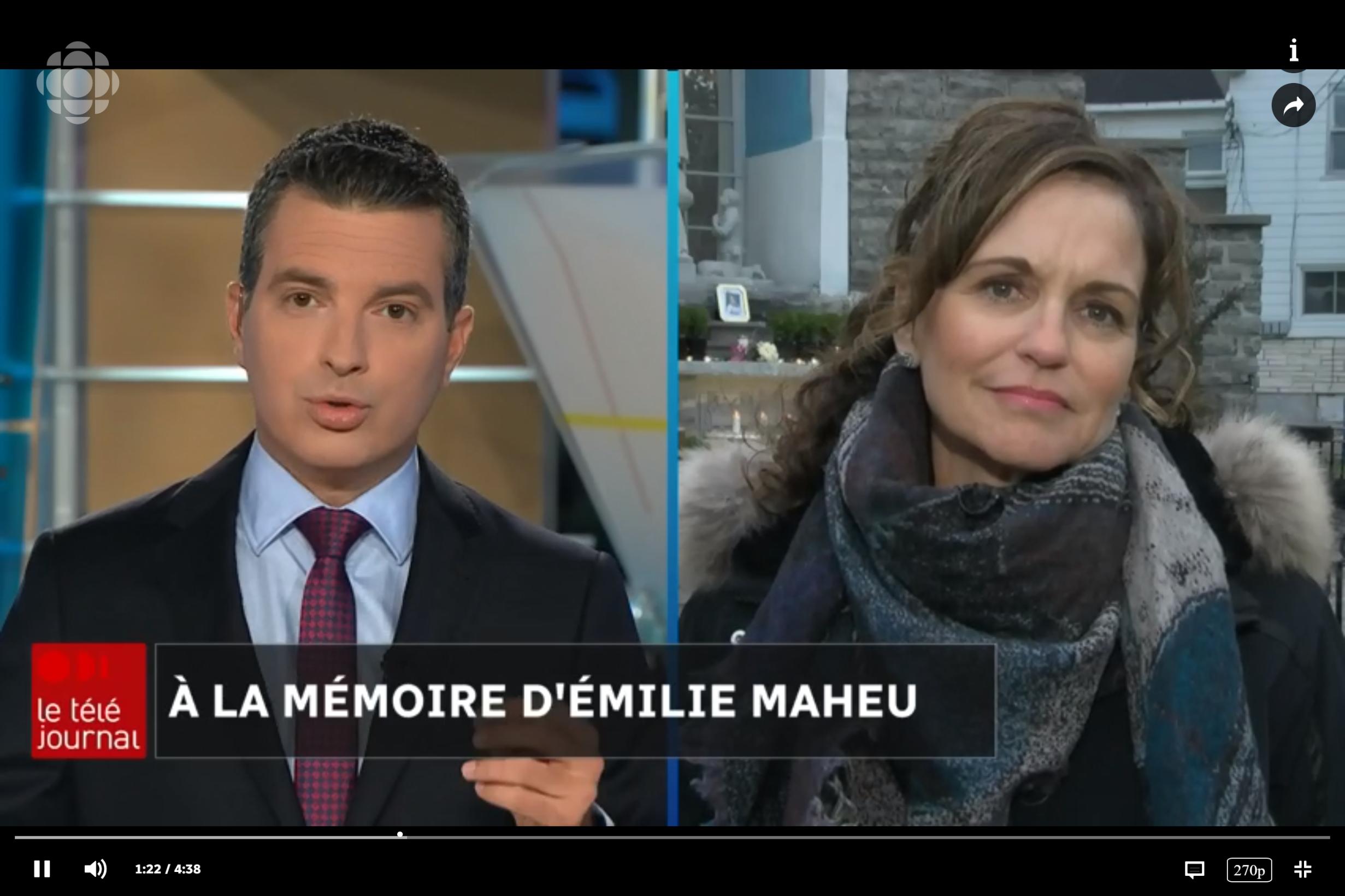FR - Téléjournal Gatineau-Ottawa avec Mathieu Nadon, Radio-Canada -  À la mémoire d'Émilie Maheu  | 2018 10 24