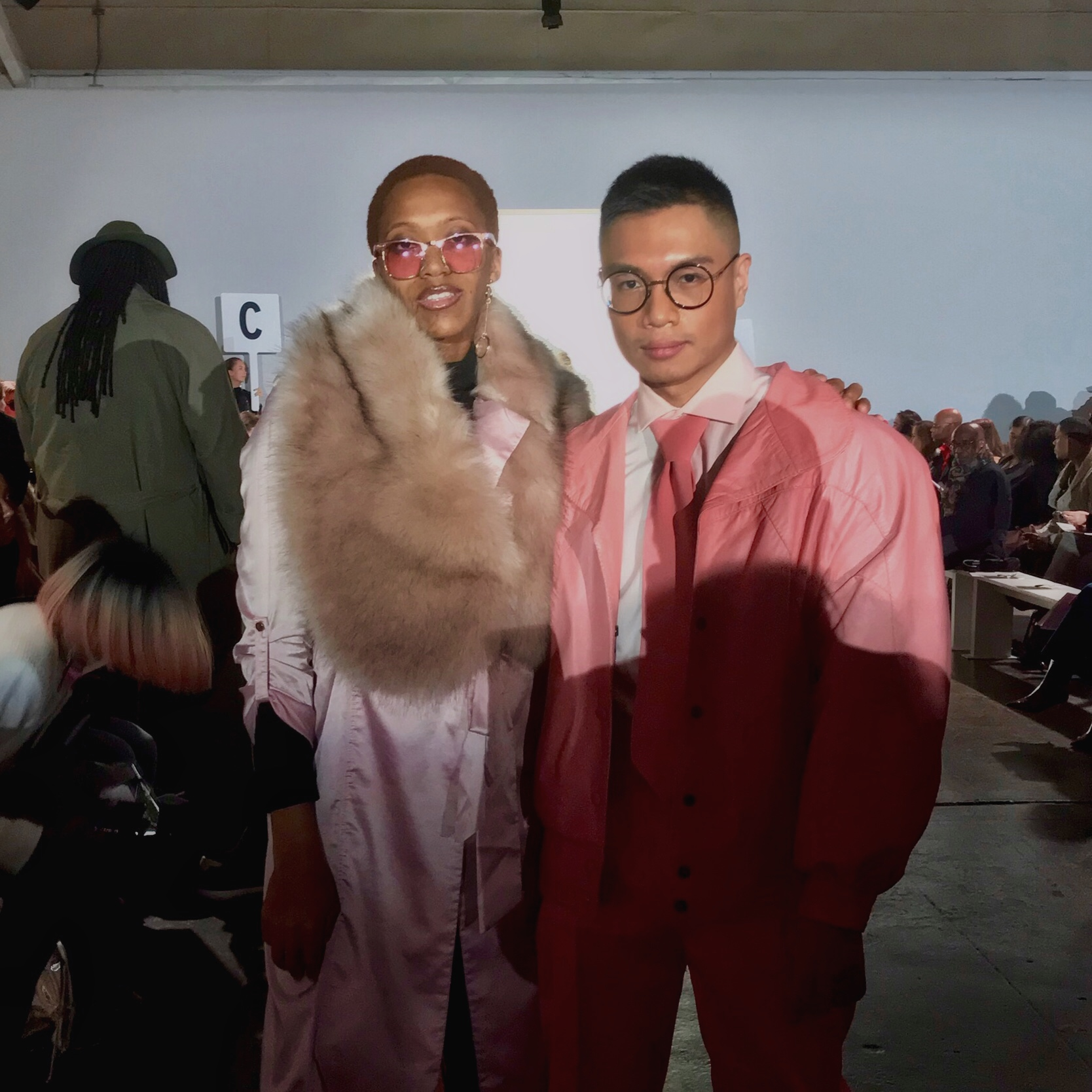 Sanglui with    Hues Of Man    at the FW18 Helen Anthony Show during NYFW.
