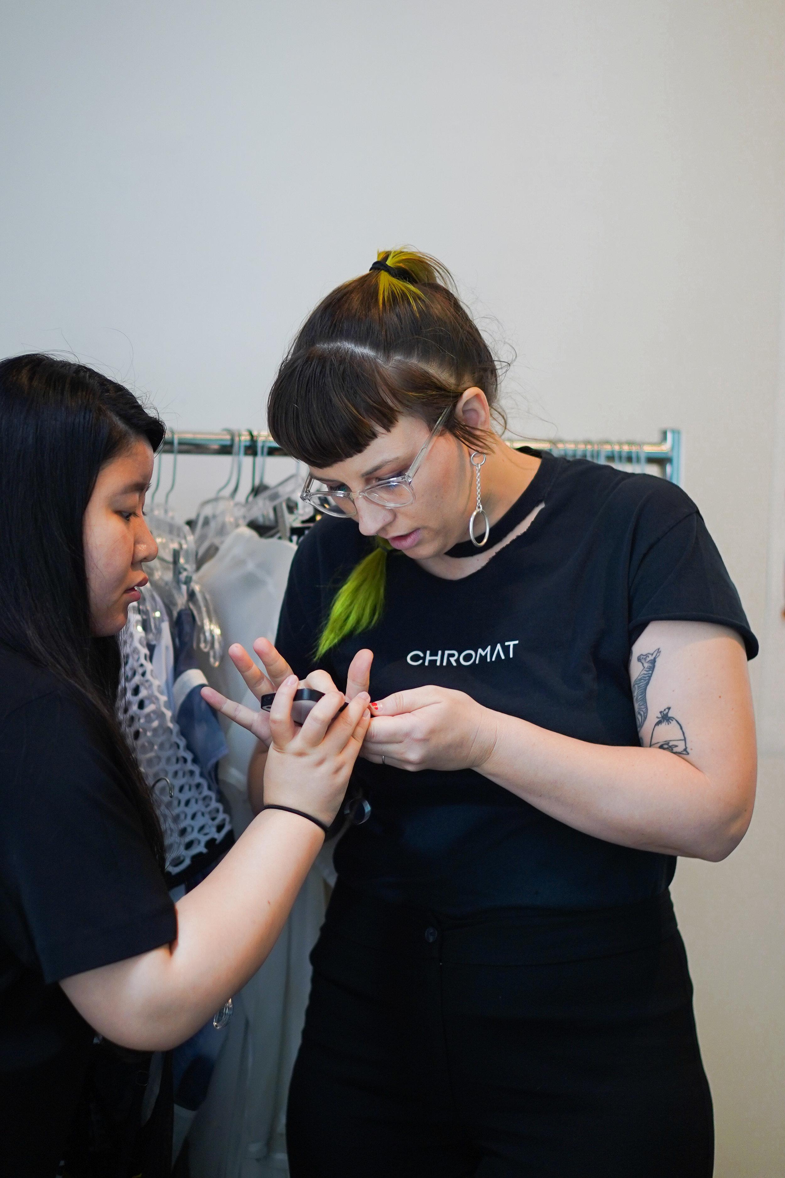(right) Becca McCharen-Tran designer of CHROMAT