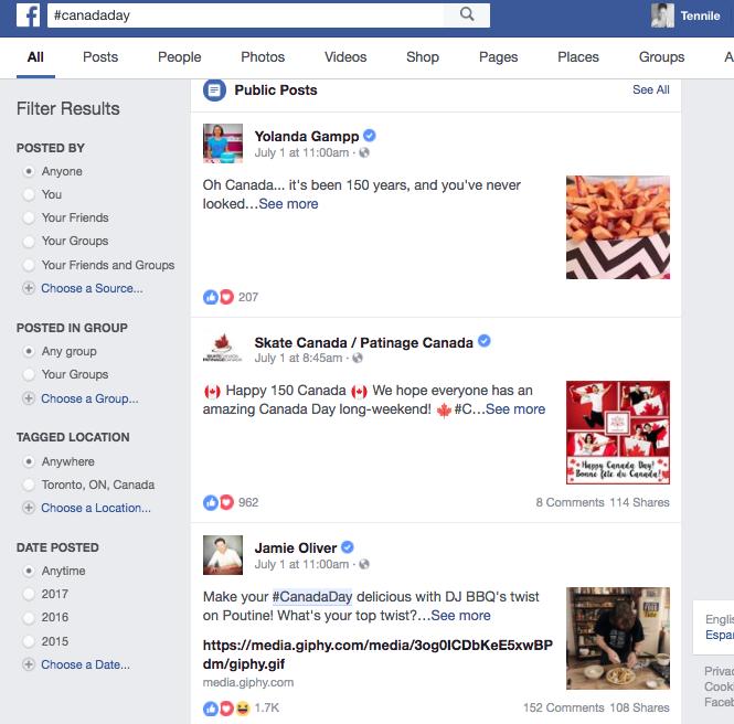 #CanadaDay Facebook Hashtags