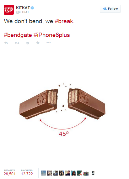 Remember when iPhones could bend in your pocket? iPhone wants you to forget but KitKat turned savage when they used the trending #iPhone6Plus fiasco to win attention.