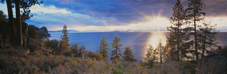 Cave Rock Sunstar Panorama, Lake Tahoe