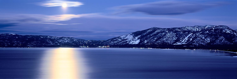 Wolf Moon Panorama, Lake Tahoe