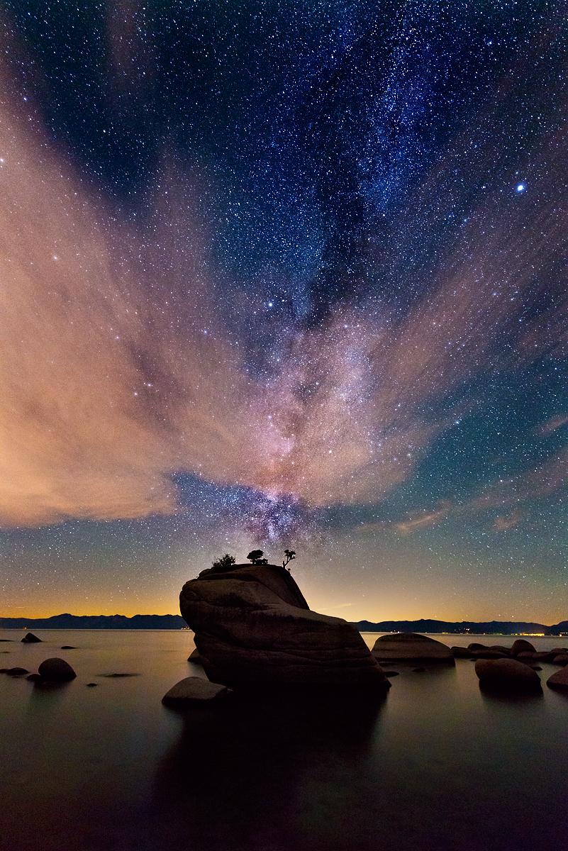 Milkyway and Clouds, Bonsai Rock, Lake Tahoe