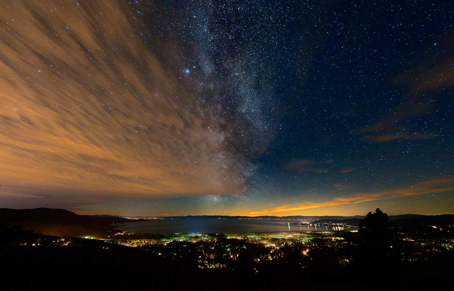 Milkyway and Clouds Over Incline Village, Nevada, Lake Tahoe