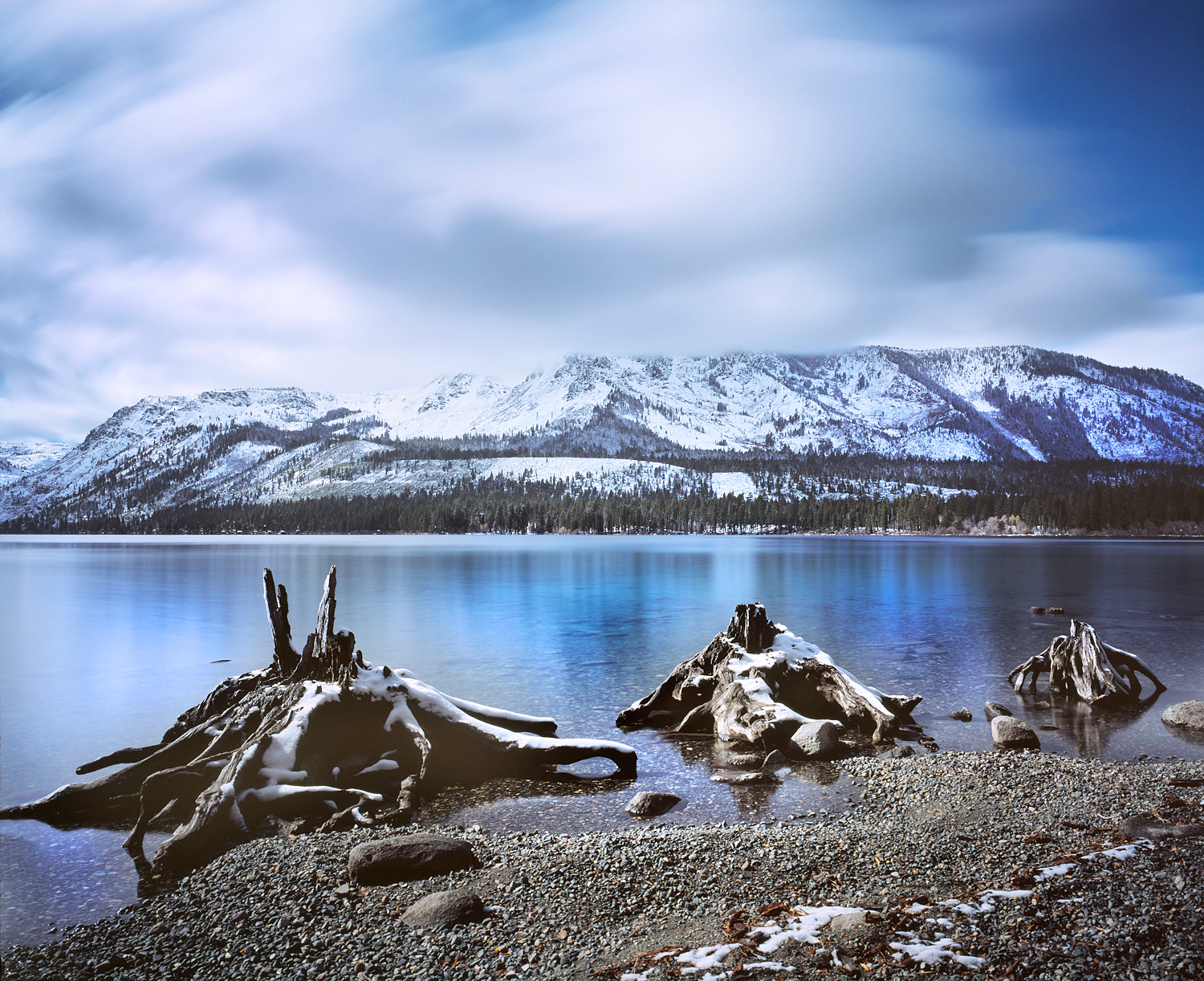 Mount Tallac and Clouds Over Fallen Leaf Lake, Lake Tahoe Basin