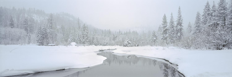 Truckee River Sunrise Blizzard Panorama