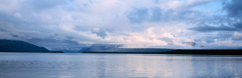 Cloudy Reflections Panorama, Naknek Lake, Katmai, Alaska