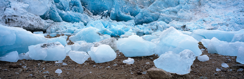 Iceberg Field and Glacier Panorama, Glacier Bay, Alaska