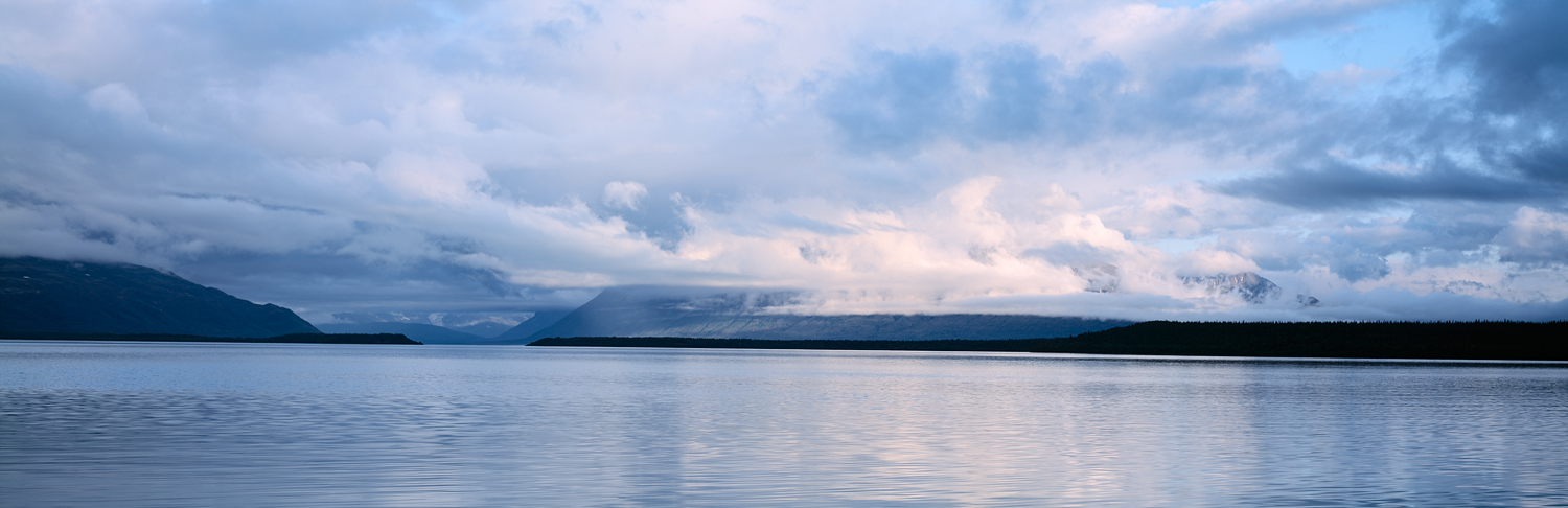 Cloudy Reflections Panorama, Naknek Lake, Katmai, Alaska