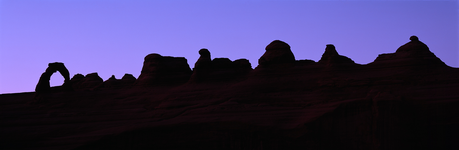 Delicate Arch Ridgeline Silhouette Panorama, Arches National Park, Utah