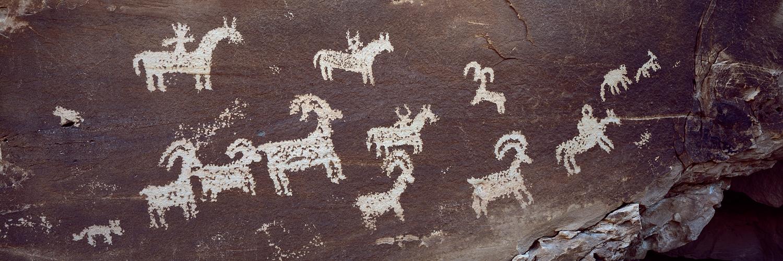Ute Petroglyphs Panorama, Arches National Park, Utah