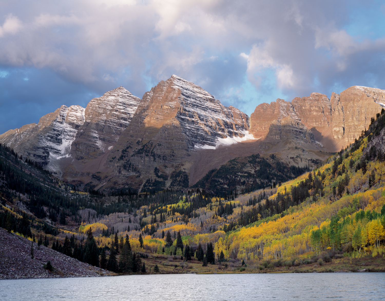Maroon Bells, Stormy Morning, Aspen, Colorado