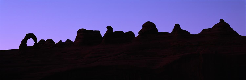 Delicate Arch Ridgeline Silhouette Panorama, Zion National Park, Utah
