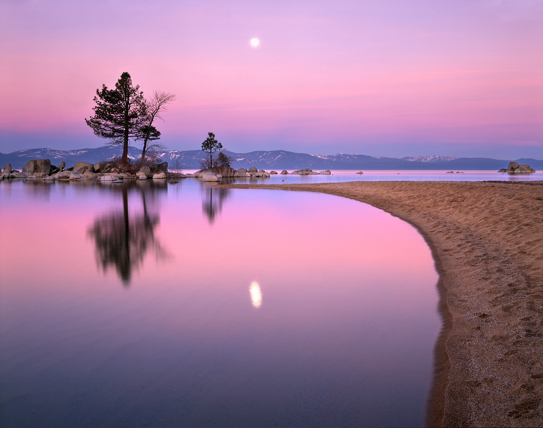 Pink Sunrise, Moonset, Zephyr Cove, Lake Tahoe