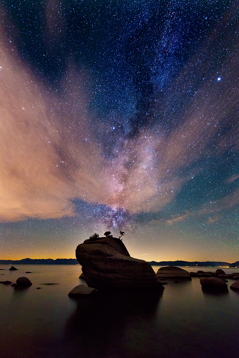Milkyway and Clouds Over Bonsai Rock, Lake Tahoe