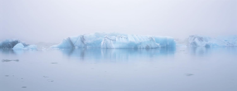 Icebergs in Fog Panorama, Jokusarlon, Iceland
