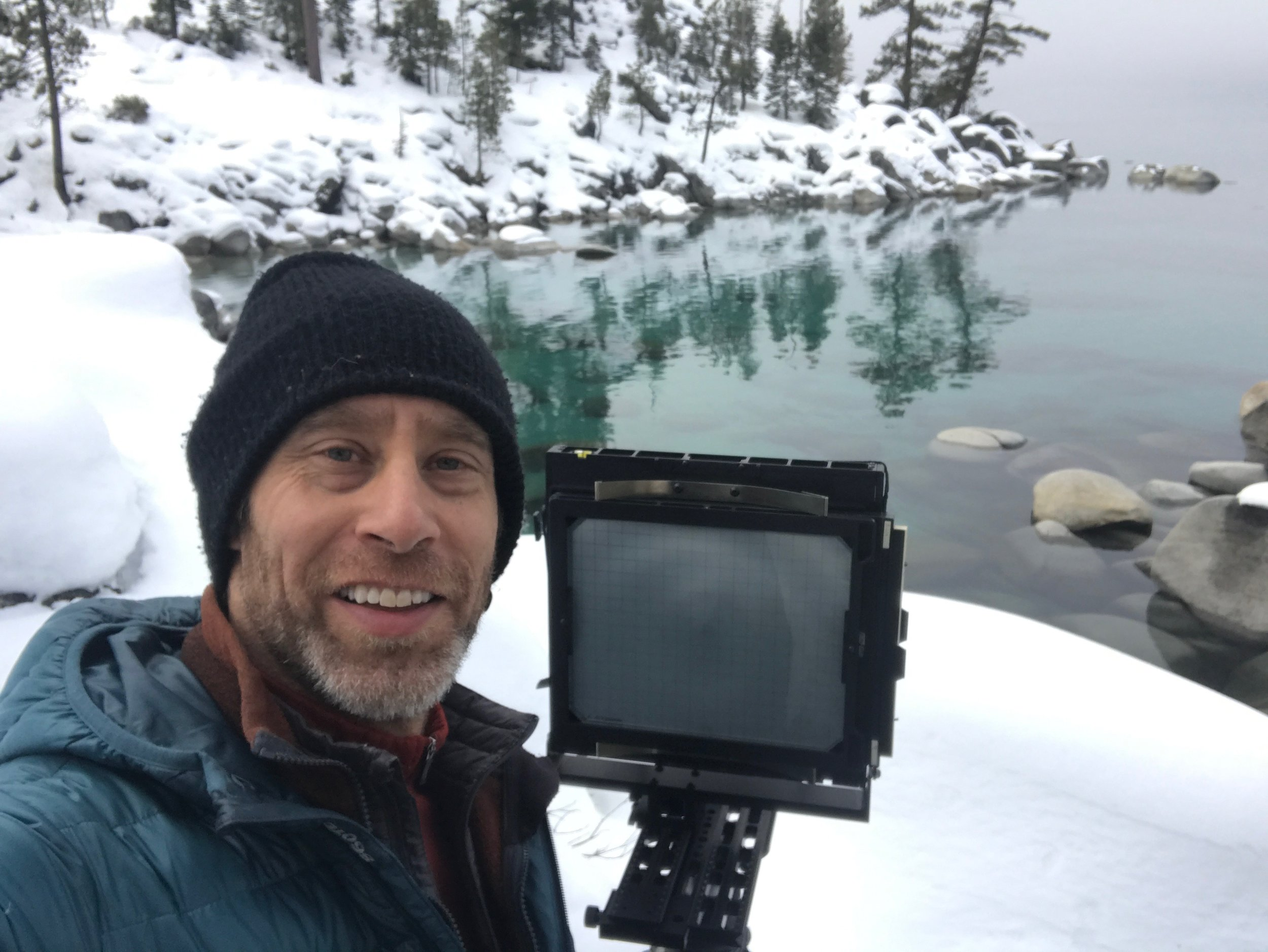 "The Photographer with his 8x10 Metal Field Camera a few minutes after capturing ""Winter Blanket, Lake Tahoe"" on an 8x10 inch sheet of film...just before the water rippled!"