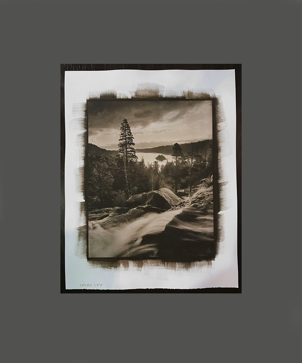 "My first 8x10 inch Platinum/Palladium print, ""Eagle Falls, Emerald Bay Platinum Morning"""