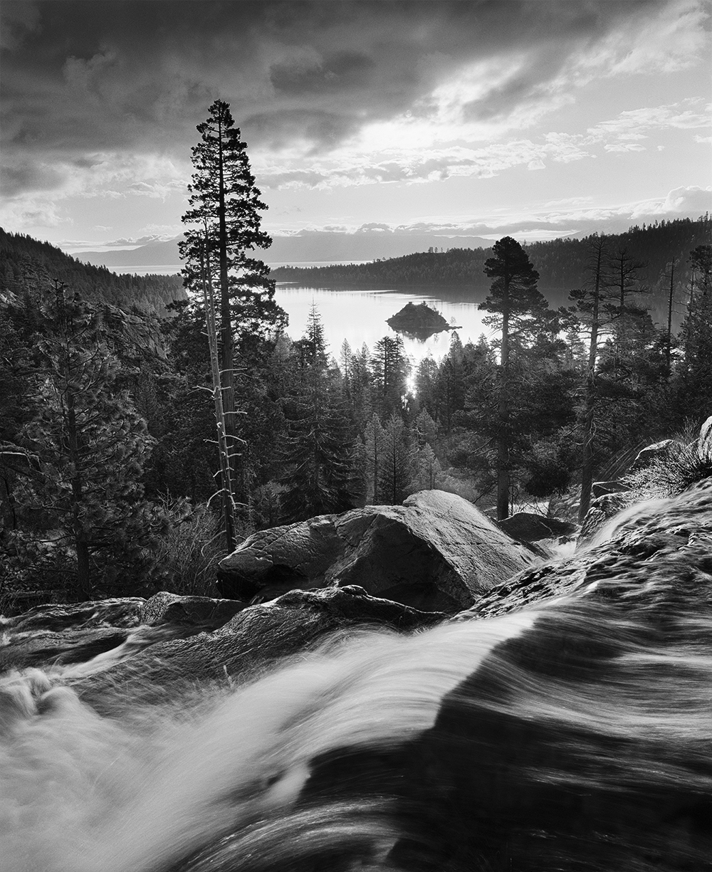 Eagle Falls and Clouds vert BW.jpg